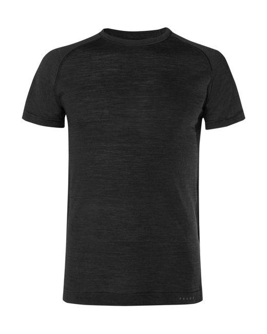Falke - Black Mélange Wool And Silk-blend Running T-shirt for Men - Lyst