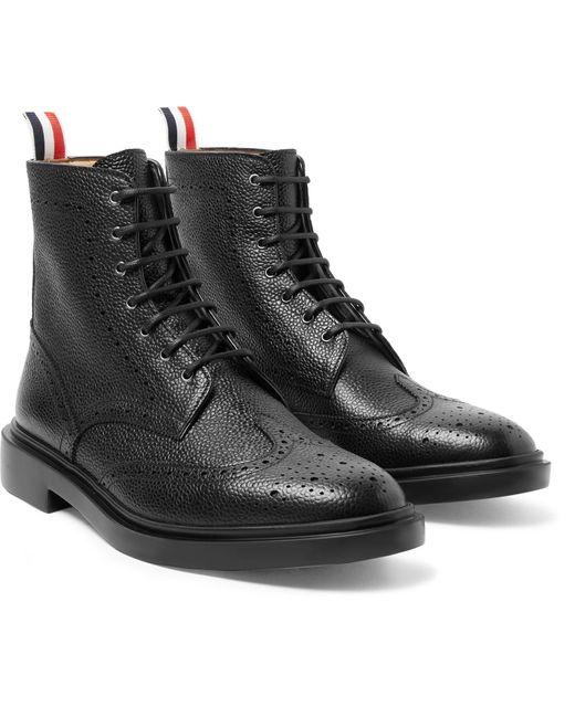 Thom Browne Black Pebble-grain Leather Wingtip Boots for men