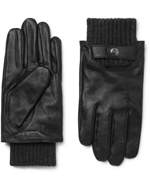 Dents Black Buxton Touchscreen Leather Gloves for men