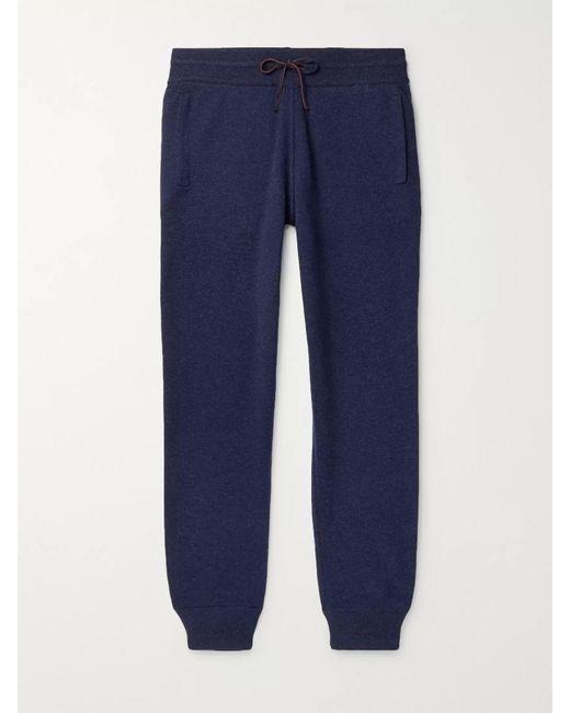 Loro Piana Blue Slim-fit Tapered Cashmere Sweatpants for men