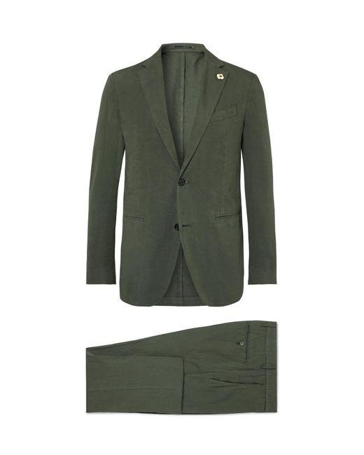 Lardini - Green Olive Slim-fit Stretch Cotton And Linen-blend Suit for Men - Lyst