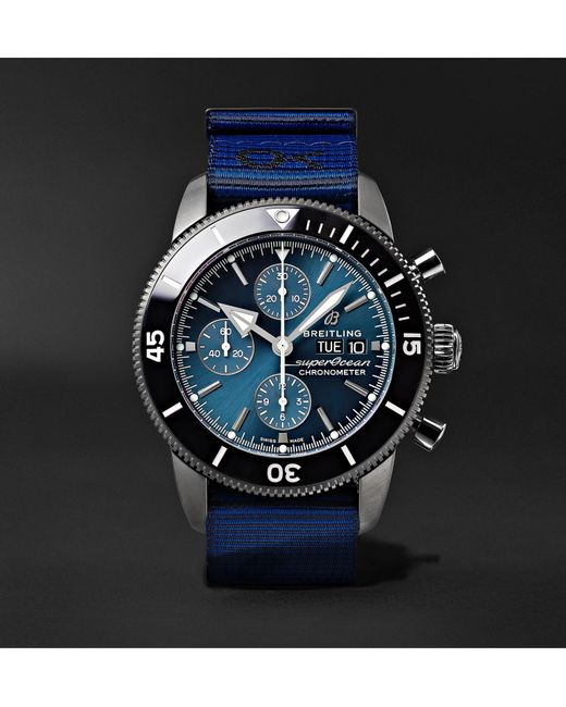 Breitling Blue + Outerknown Superocean Heritage Chronometer 44mm Dlc-coated Stainless Steel And Nato Watch, Ref. No. M133132a1c1w1 for men