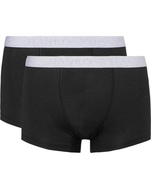 Hanro - Black Two-pack Stretch-cotton Boxer Briefs for Men - Lyst