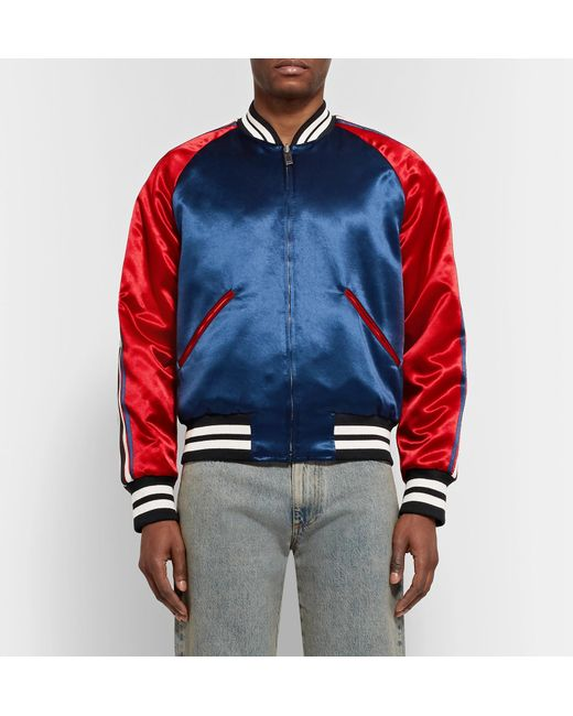 2f116ac5a Gucci Stripe Reversible Acetate Bomber in Blue for Men - Save 55% - Lyst