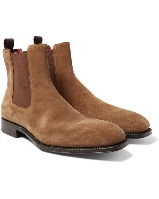 Alexander McQueen - Brown Suede Chelsea Boots for Men - Lyst