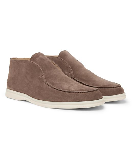 Loro Piana Brown Open Walk Suede Boots for men