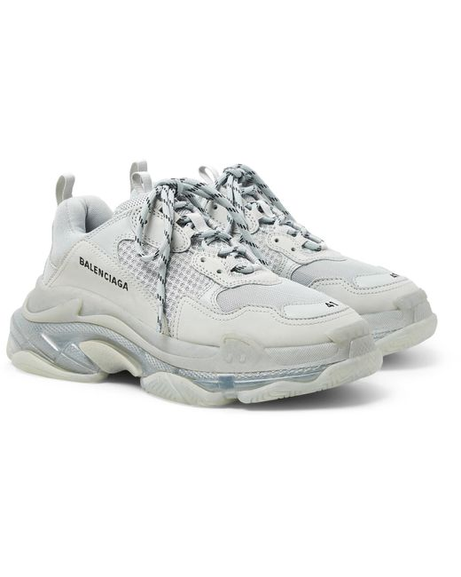 Balenciaga Gray Triple S Clear Sole Mesh, Nubuck And Leather Sneakers for men