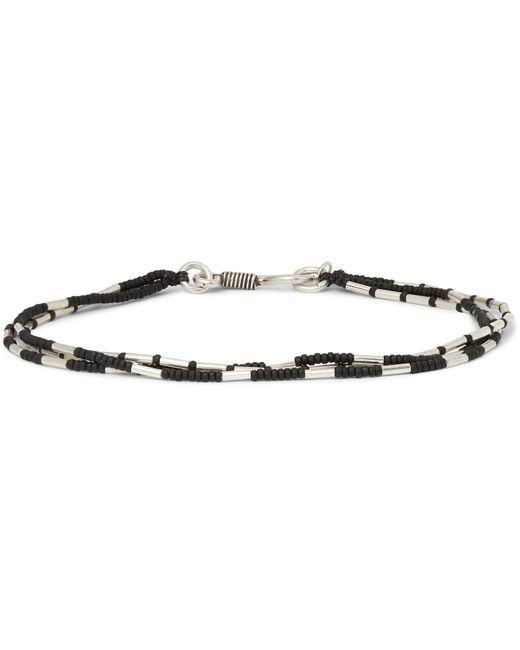 Peyote Bird Black Bead And Sterling Silver Bracelet for men