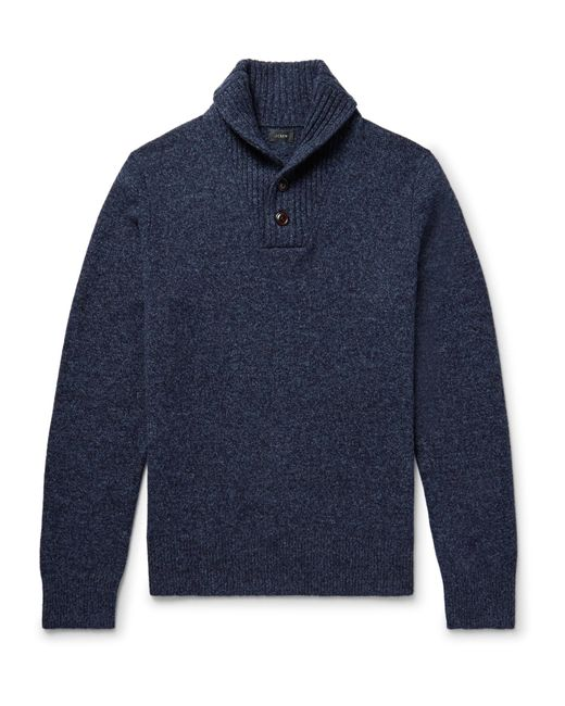 J.Crew | Blue - Shawl-collar Mélange Wool Sweater - Navy for Men | Lyst