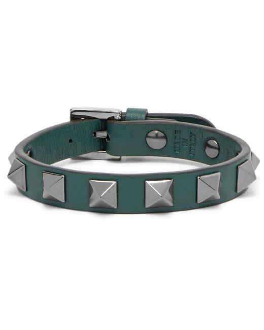 Valentino - Green Garavani Rockstud Leather And Ruthenium Bracelet for Men - Lyst