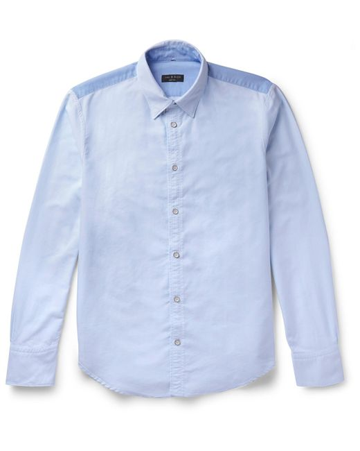 Rag & Bone | Blue Slim-fit Button-down Collar Two-tone Cotton Oxford Shirt for Men | Lyst