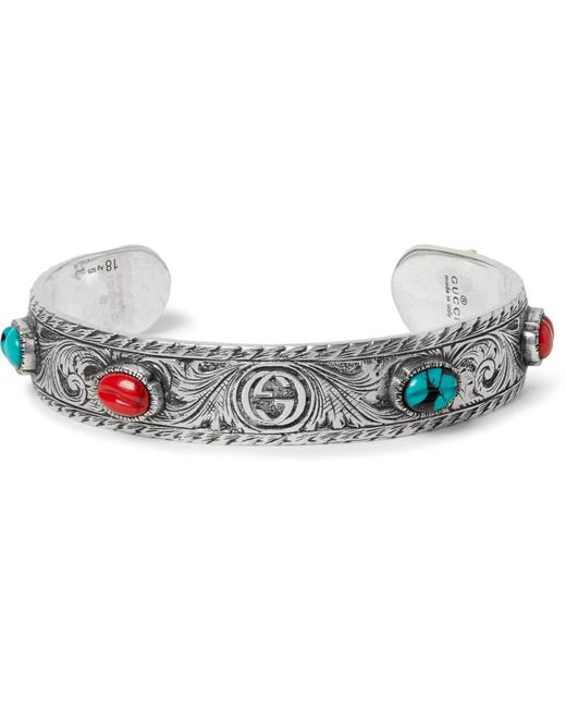 Gucci Metallic Tiger Head Sterling Silver Turquoise Cuff for men