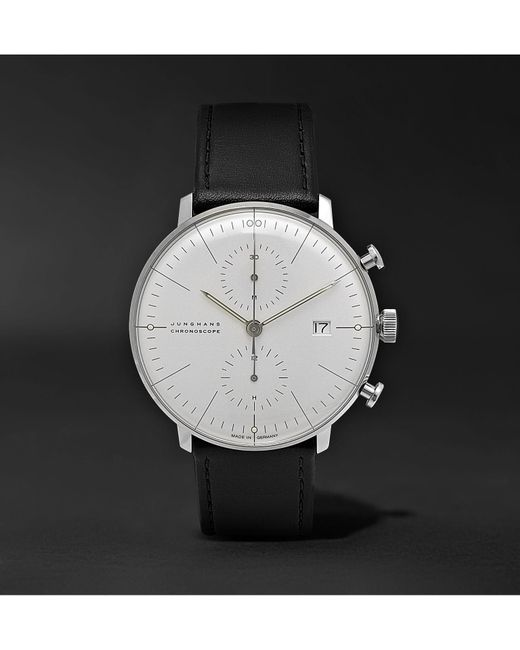 Junghans - Black Max Bill Chronoscope 40mm Stainless Steel And Leather Watch for Men - Lyst