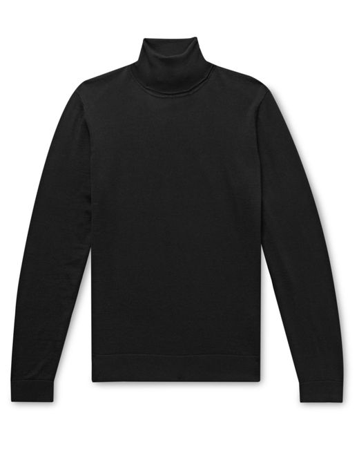 BOSS by Hugo Boss Black Slim-fit Wool And Silk-blend Rollneck Sweater for men