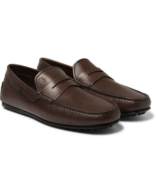 Tod's Brown City Gommino Leather Loafers for men