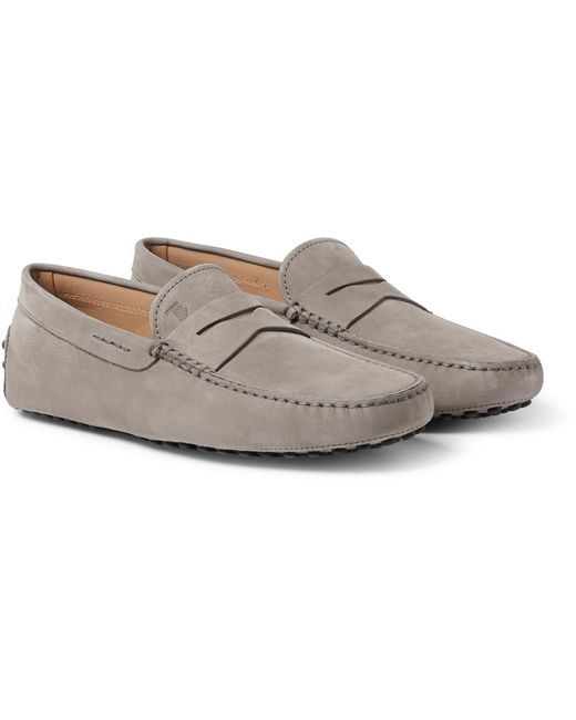 Tod's - Gray Gommino Nubuck Driving Shoes for Men - Lyst