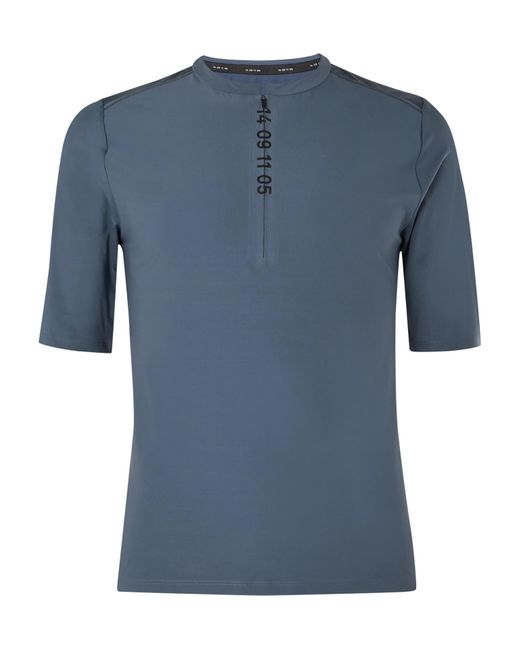 Nike Blue Tech Pack Printed Stretch-jersey And Mesh Half-zip Top for men