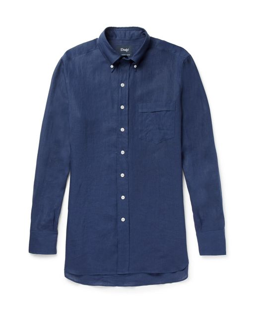 Drake's - Blue Button-down Collar Linen Shirt for Men - Lyst