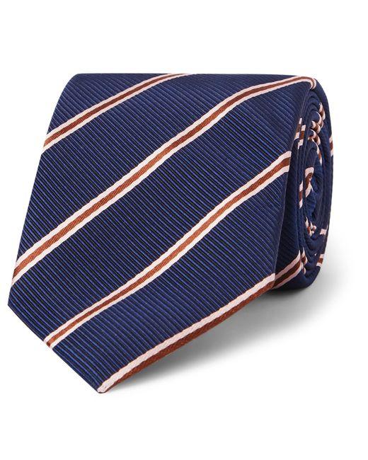 Kingsman Blue Drake's 8cm Striped Silk And Cotton-blend Faille Tie for men