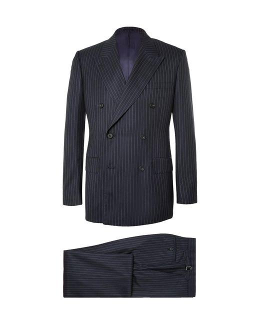 Kingsman Blue Navy Harry Slim-fit Pinstriped Super 120s Wool And Cashmere-blend Suit for men