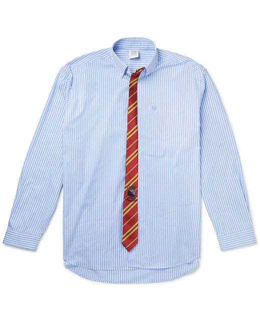 Vetements Blue Oversized Tie-trimmed Striped Cotton Shirt for men