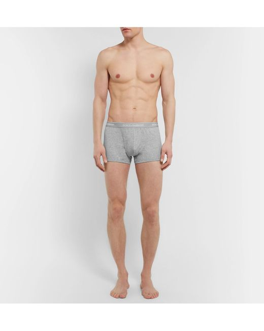 Dolce & Gabbana Gray Two-pack Stretch-cotton Boxer Briefs for men