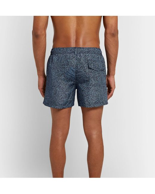 Paul Smith Men's Blue Mid-length Printed Swim Shorts