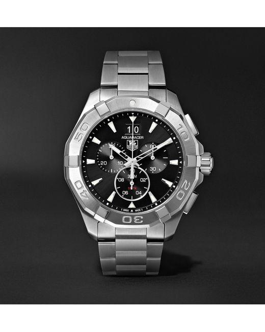 21d3af2b52c Tag Heuer - Black Aquaracer Chronograph Quartz 43mm Steel Watch for Men -  Lyst