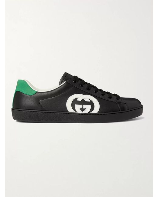 Gucci Black Ace Suede-trimmed Leather Sneakers for men