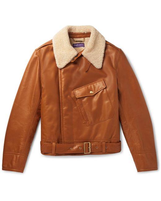 Ralph Lauren Purple Label Brown Camber Shearling Aviator Jacket for men