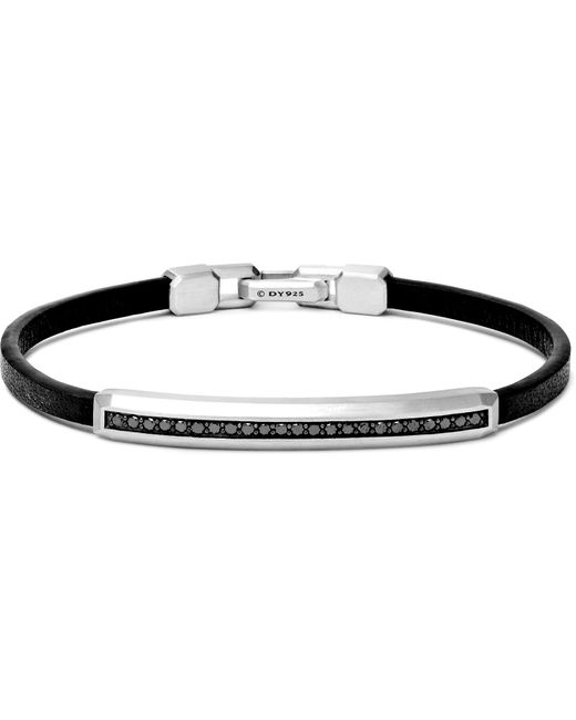 David Yurman - Metallic Leather, Sterling Silver And Black Diamond Bracelet for Men - Lyst
