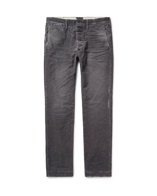 Fabric-Brand & Co. | Gray Meron Slim-fit Distressed Cotton-blend Corduroy Trousers for Men | Lyst