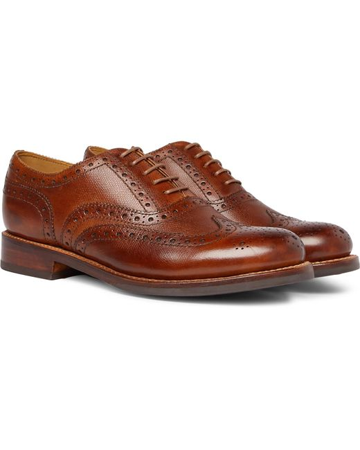 GRENSON - Brown Stanley Cross-grain Leather Wingtip Brogues for Men - Lyst