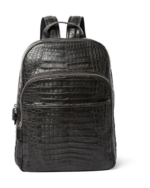 Santiago Gonzalez | Black Crocodile Backpack for Men | Lyst