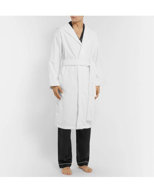 ... Versace - White Logo-jacquard Cotton-terry Hooded Robe for Men - Lyst  ... dd8c9e0e9