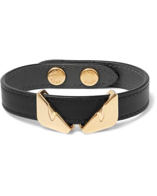 Fendi - Black Leather And Gold-tone Bracelet for Men - Lyst