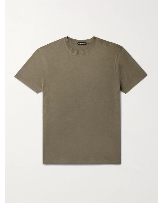 Tom Ford Green Lyocell And Cotton-blend Jersey T-shirt for men