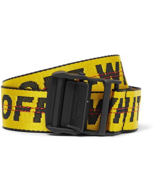 Off-White c/o Virgil Abloh 3.5cm Yellow Industrial Logo-jacquard Webbing Belt for men