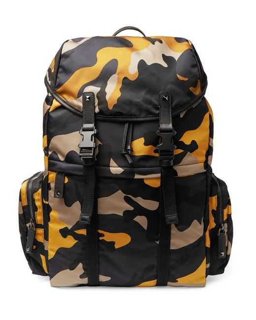 Valentino | Blue Leather-trimmed Camouflage Shell Backpack for Men | Lyst