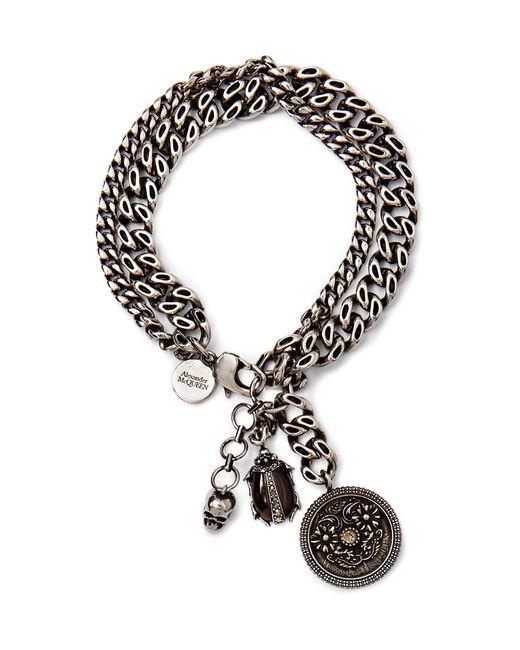 Alexander McQueen Metallic Embellished Burnished Silver-tone Bracelet for men