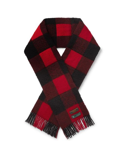 Gucci Red Fringed Padded Checked Wool Scarf for men