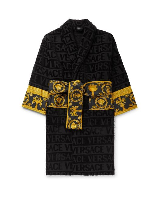 Versace - Black Poplin-panelled Logo-jacquard Cotton-terry Robe for Men - Lyst