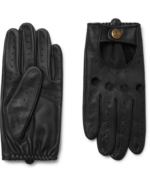 Dents Black Silverstone Touchscreen Leather Driving Gloves for men
