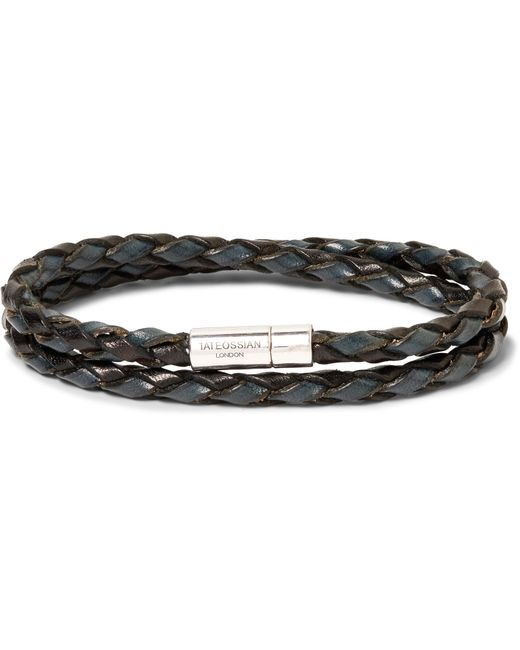Tateossian - Metallic Woven Leather And Sterling Silver Bracelet for Men - Lyst