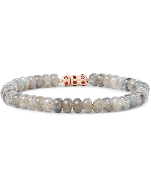 Luis Morais | Gray Bead, Gold And Ruby Bracelet for Men | Lyst