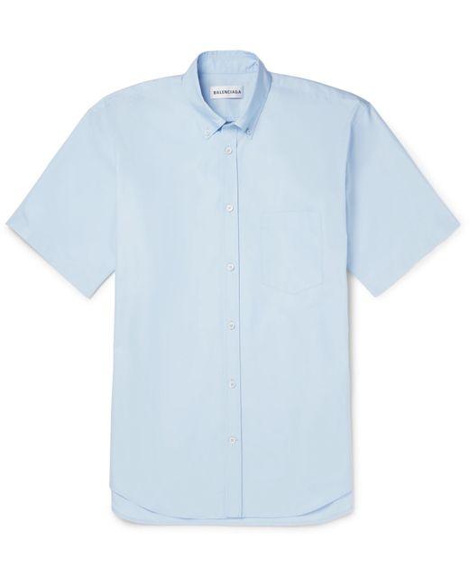 Balenciaga - Blue Oversized Printed Button-down Collar Cotton-poplin Shirt for Men - Lyst