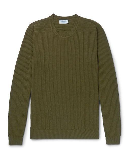 John Smedley - Green Ribbed Merino Wool Sweater for Men - Lyst