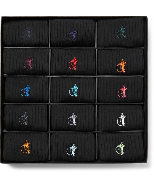 London Sock Company Black The Simply Sartorial 15-pack Ribbed Stretch Cotton-blend Socks for men