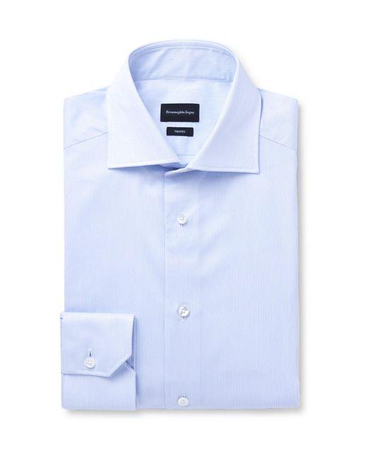 Ermenegildo Zegna Blue Cutaway-collar Striped Cotton Shirt for men