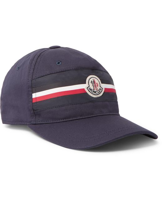 2d62e18b356 Moncler - Blue Appliquéd Striped Cotton-twill Baseball Cap for Men - Lyst  ...